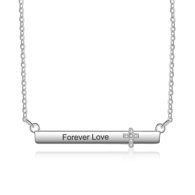 Personalized Bar Necklace With Cross Engraved Name