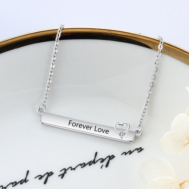 Custom Name Necklace Heart Engraved Personalized Bar Pendant Necklace