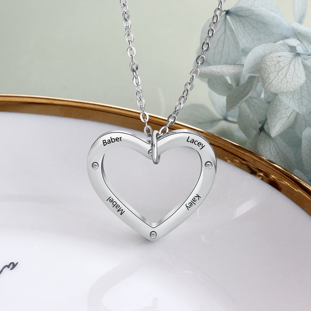 Family Gift Necklace 18K White Gold Plated