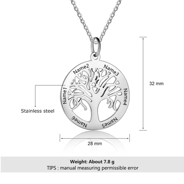 family tree necklace for mother grandmother silver Personalized best gift idea
