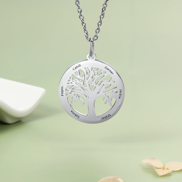 family tree necklace personalized 5 names family birthstone necklace gift for mothers meaning gift