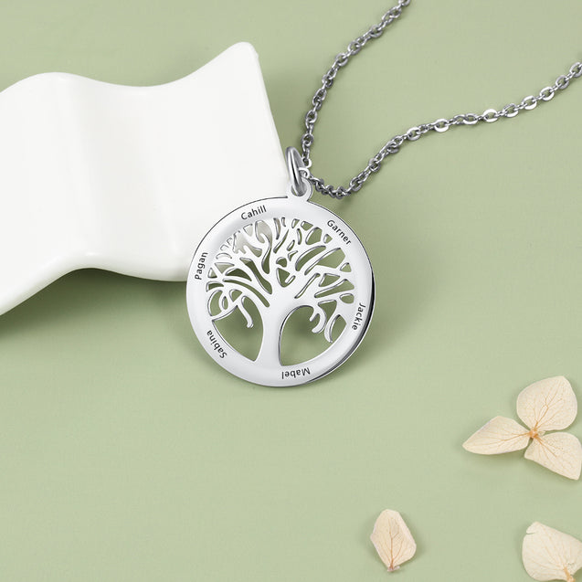 family tree necklace personalized 5 names family necklace gift for mothers meaning gift
