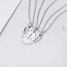 Broken Heart Necklace Set Best Friends Pendant Engraved Heart Matching Necklace