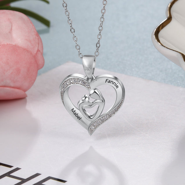 Mother and Child Heart Necklace Engraved with 2 Names Love Necklace Sterling Silver