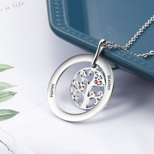 Family Tree Necklace with 2 Birthstone Tree of Life Engraved 2 Names Mother Daughter Necklace