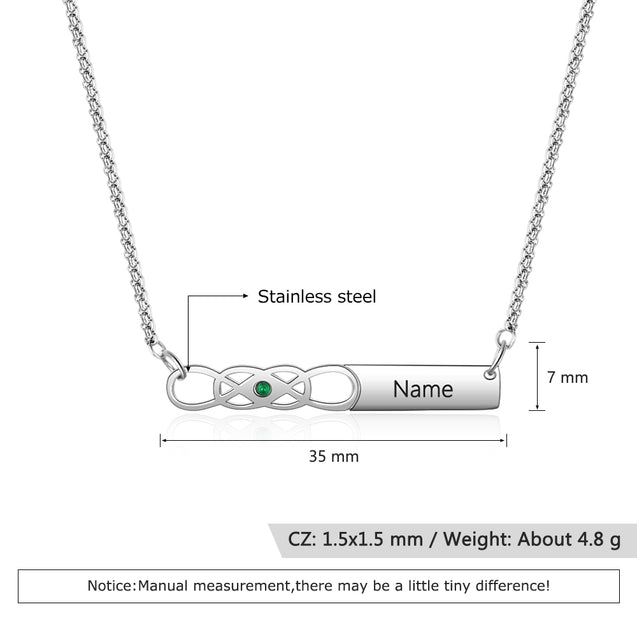 Infinity Bar Pendant Necklace with Birthstone Personalized Engraved Custom Name Necklace Gift For Girl Women