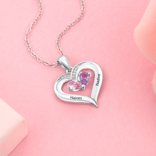 Heart Birthstone Necklace Personalized Love Necklace with 2 Stone Engraved with 2 Names