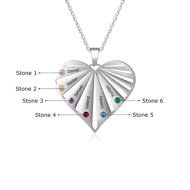 Heart Birthstone Necklace Grandma Necklace with 6 Stones Engraved 6 Names Mom Necklace in Silver