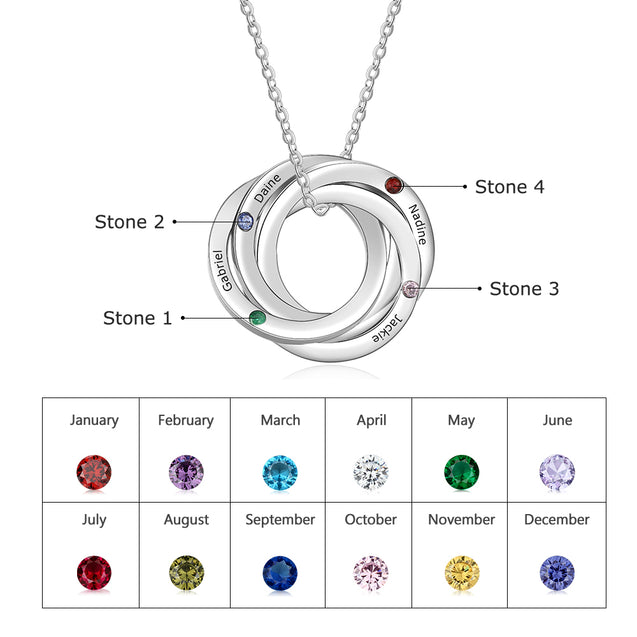 Personalized Russian Ring Neckalce with 4 Stones Engraved 4 Names Interlocking Rings Necklace Gift For Mother