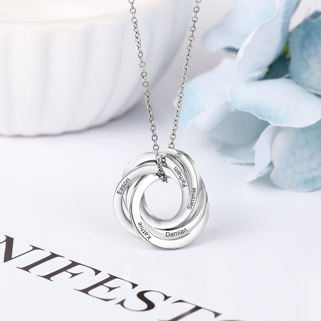 Russian Ring Neckalce Engraved 5 Interlocking Rings Necklace Personalized Gift For Mother