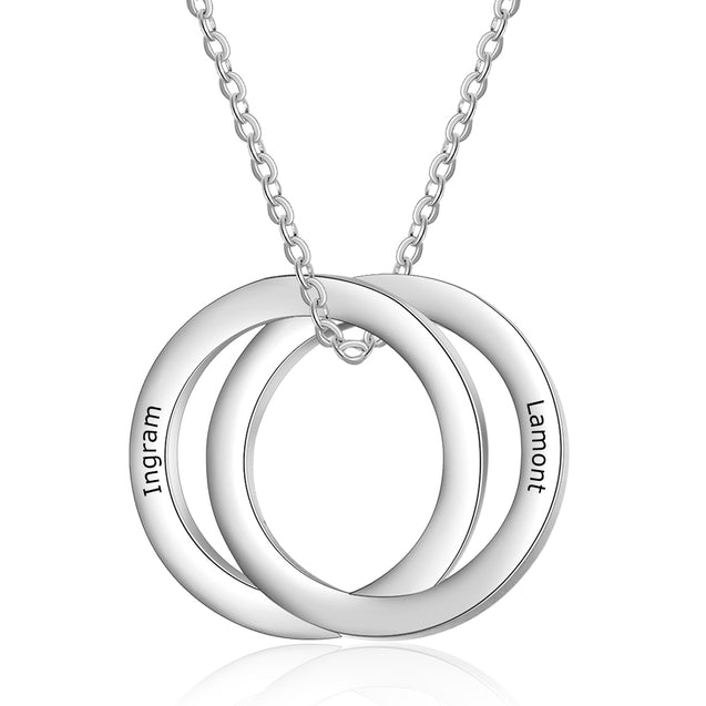 Russian Ring Neckalce Engraved Interlocking Necklace Personalized 2 Names Gift For Her