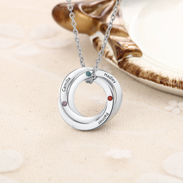 Russian Ring Neckalce Engraved 3 Interlocking Rings Necklace Personalized Birthstone Mother Neckalce