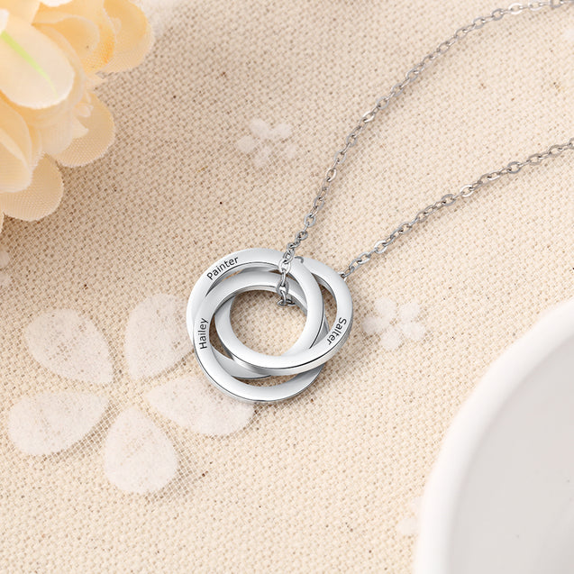 Russian Ring Neckalce Engraved Interlocking Rings Necklace Personalized 3 Names Gift For Mother