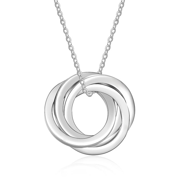 Russian Ring Neckalce Engraved 4 Interlocking Rings Necklace Personalized 4 Names Gift For Mother