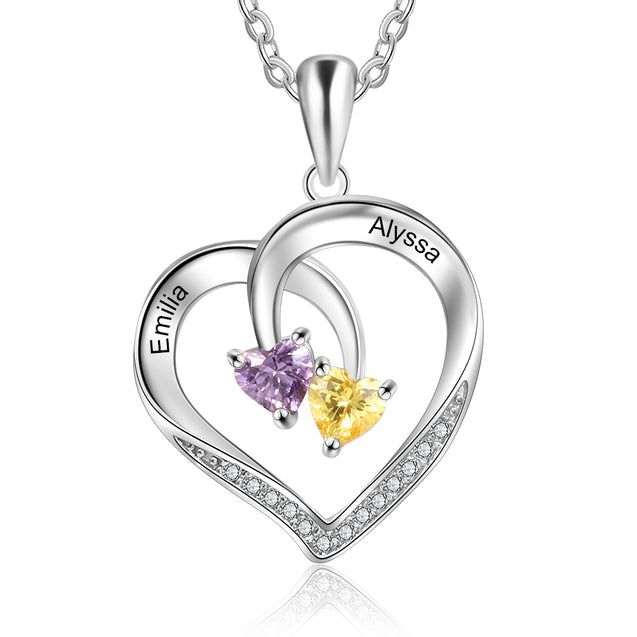 Engraved Intertwined Heart Birthstone Necklace Personalized Love Necklace with 2 Stone 2 Names