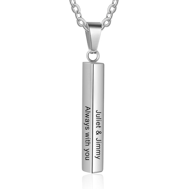 personalize engraving 4 sides vertical bar necklace women pendant silver