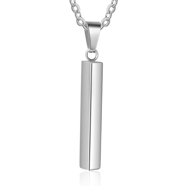 women pendant necklace personalize engraving 4 sides vertical bar necklace silver