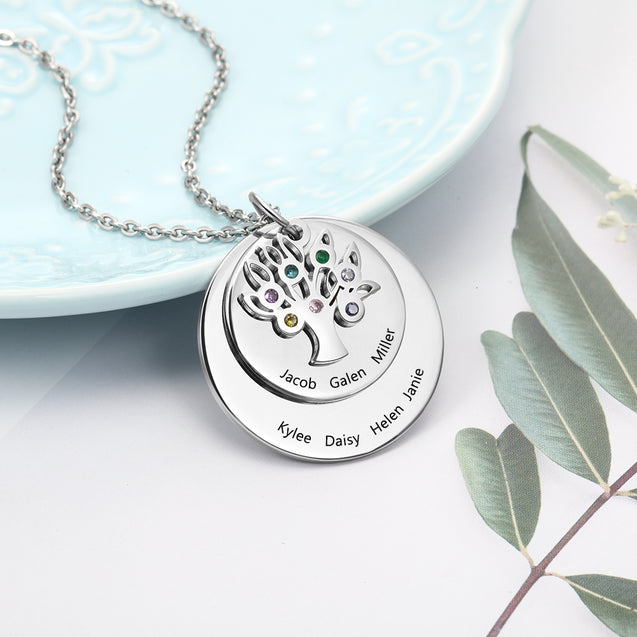 family tree necklace for mother grandmother Personalized best gift idea