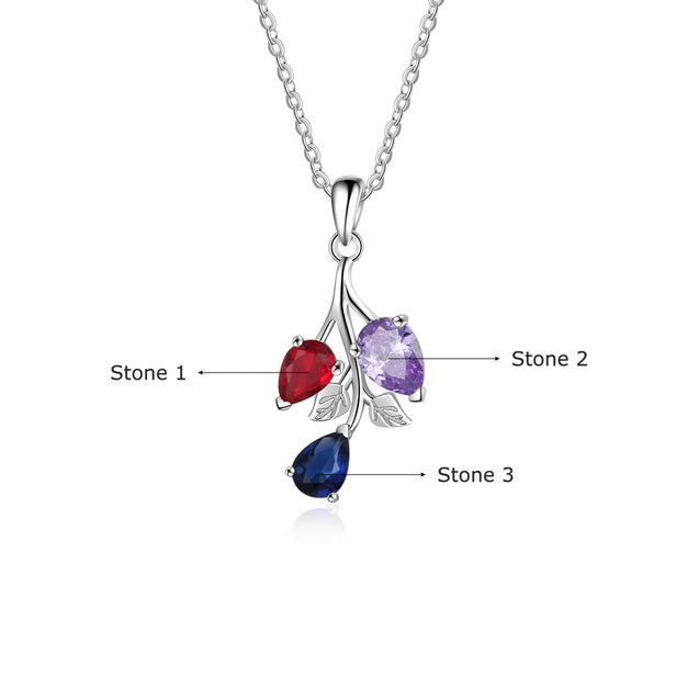 personalized birthstone necklace leaf pendant gift for family custom necklace