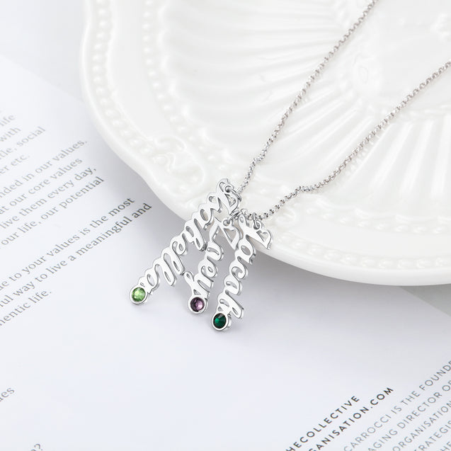 Custom Name Necklace with 3 Birthstones Personalized 3 Names Family Necklace