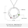 personalized birthstone necklace with 3 names family necklace
