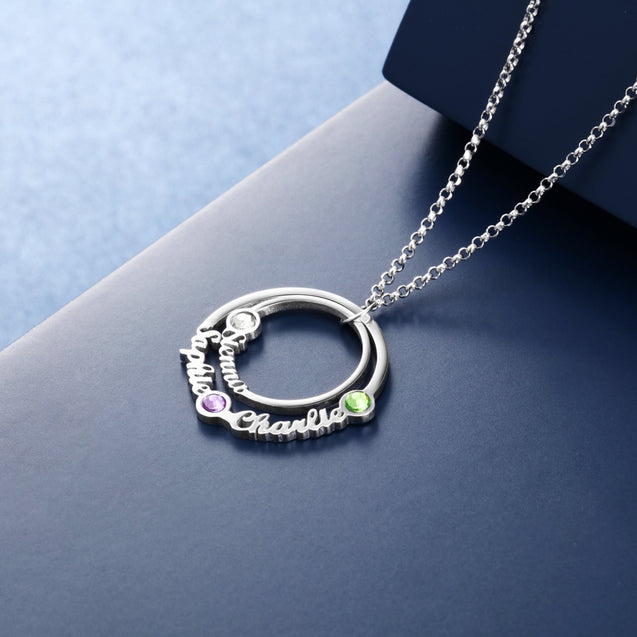 personalized birthstone necklace circle style pendant gift for family custom necklace