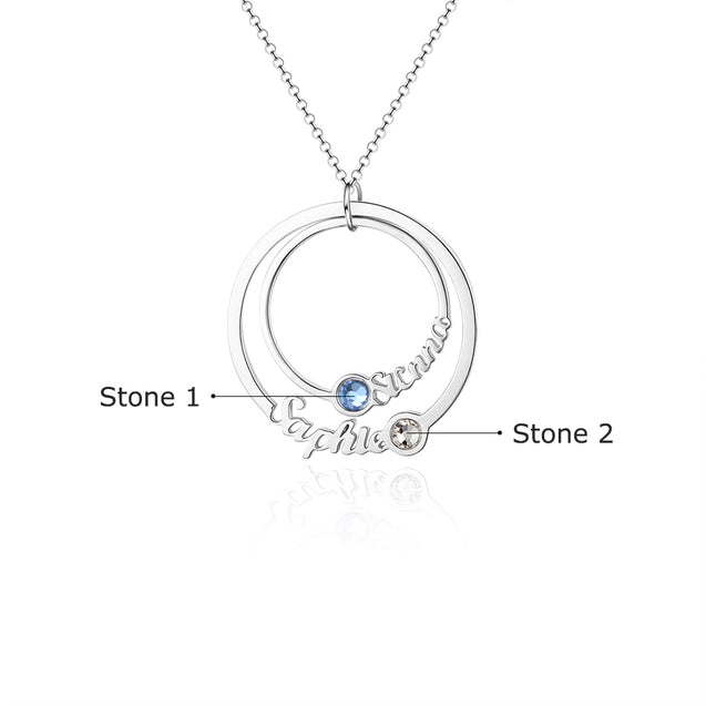 personalized birthstone necklace circle style pendant gift for family
