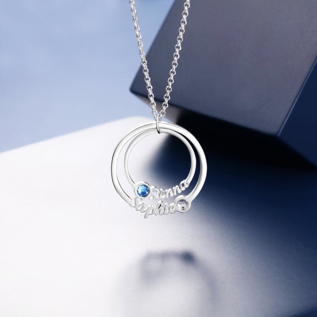 personalized birthstone necklace circle style pendant sterling silver gift for family custom necklace