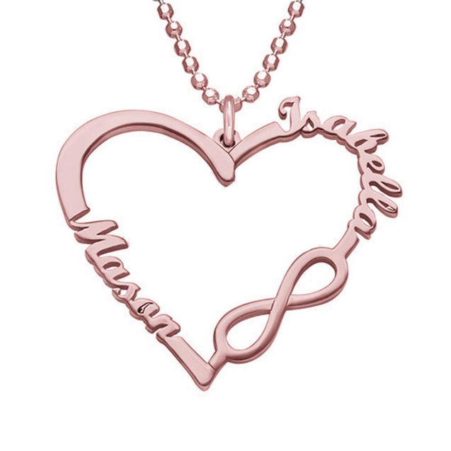 Lover Heart Infinity Name Necklace Custom 2 Names Personalized Name Chain Gift For Mom