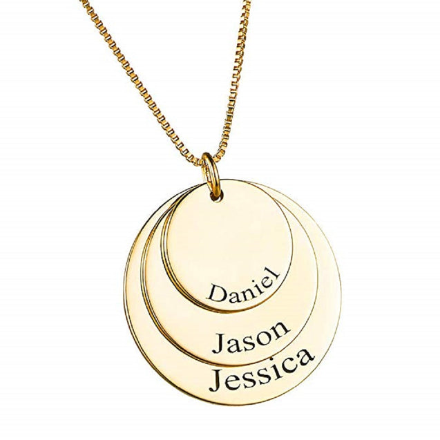 Custom Discs Necklace Engraved 3 Name Personalized Family Necklace