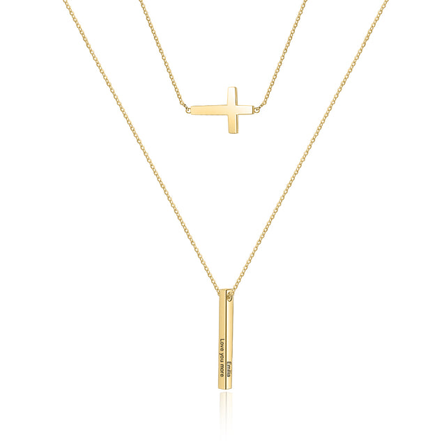 Vertical Bar Necklace with Cross Pendant Layer Neckalce Personalized Custom Name Necklace Engraving 4 side