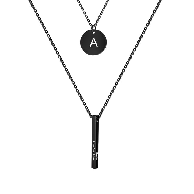 Vertical Bar Necklace with Initial Pendant Engraving 4 sides Personalized Layered Necklace