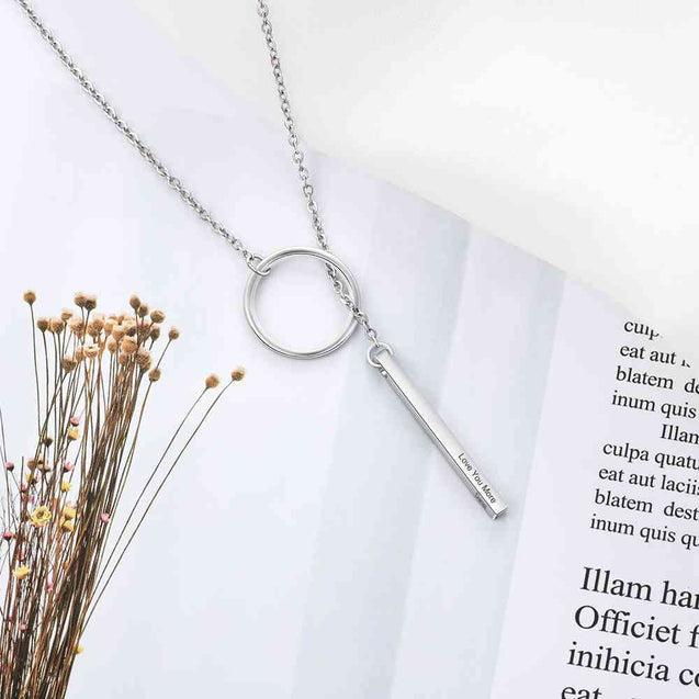 Circle Bar Necklace Custom Name Necklace Delicate Pendant Silver