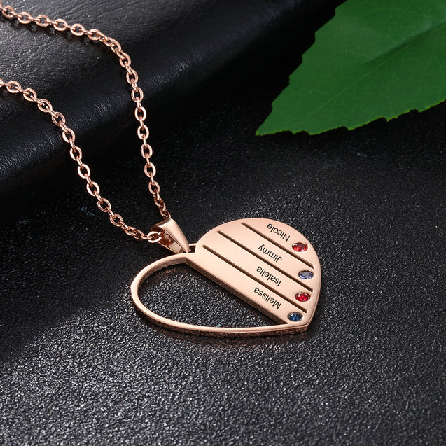 Personalized Heart Pendat Necklace with 4 Birthstone Engraved 4 Names Family Necklace in Rose Gold