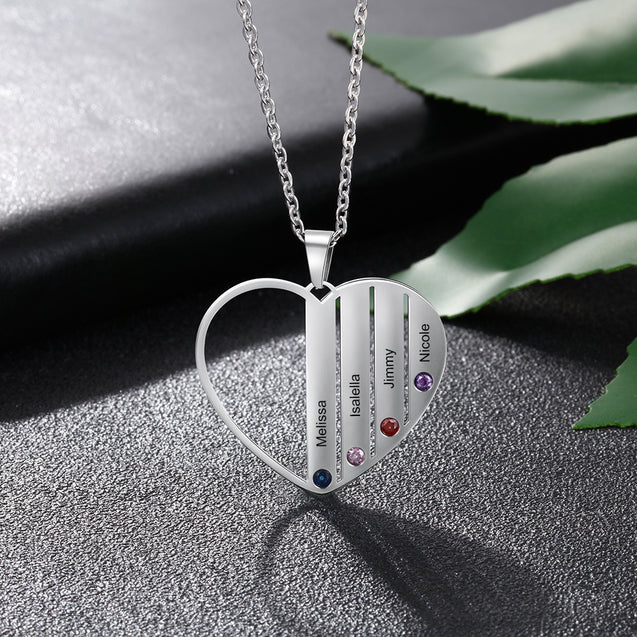 Personalized Heart Necklace with 4 Birthstone Engraved 4 Names Family Necklace Monther Necklace