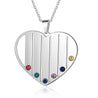 Mom Birthstone Necklace Heart Necklace with 6 Birthstone Personalized Engraved 6 Names in Silver