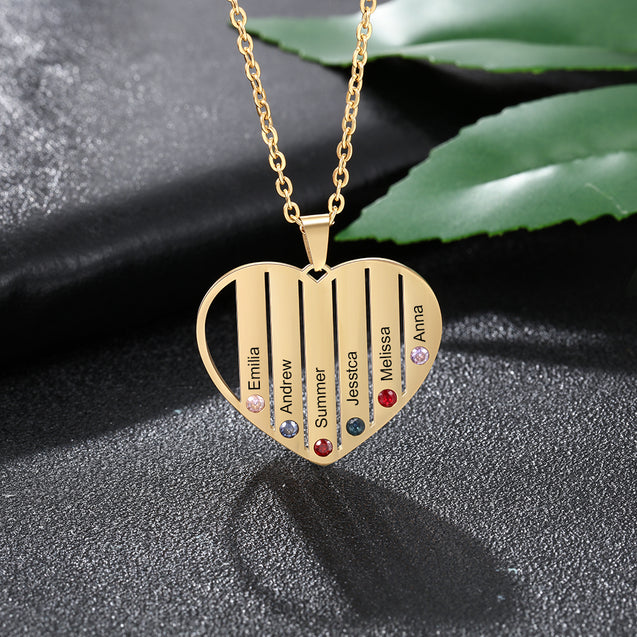 Personalized Mother Heart Necklace with 6 Birthstones Engraved 6 Names Family Necklace in Gold