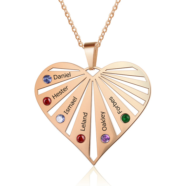 Engraved Heart Necklace Mother Necklace with 6 Stones 6 Names Personalized Family Necklace in Rose Gold
