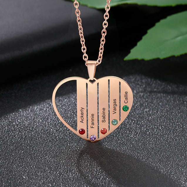 Heart Necklace Personalized with 5 Birthstone Engraved 5 Names Family Necklace in Rose Gold