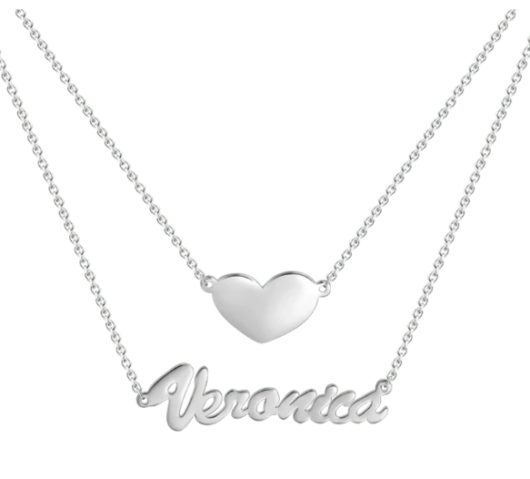 Layers Name Necklace with Heart silver