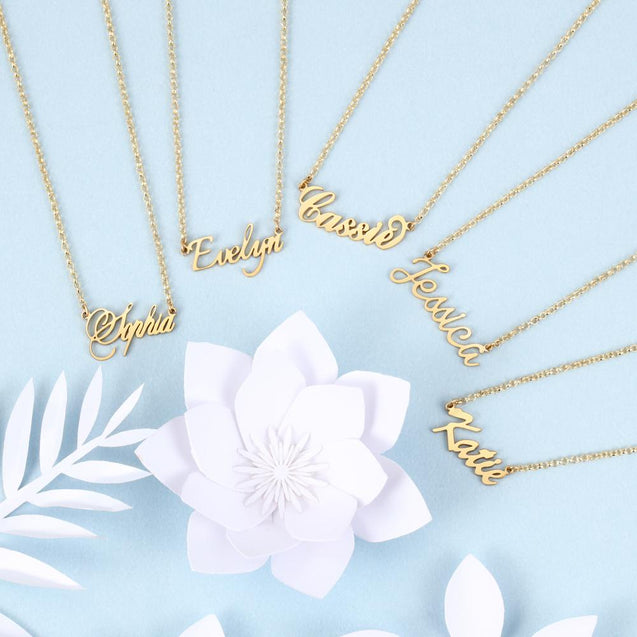personalized custom name necklace gold plated gift for her