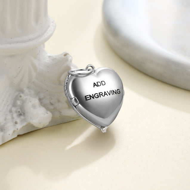 Personalized Heart Photo Locket Necklace Angel Wings Sterling Silver Necklace