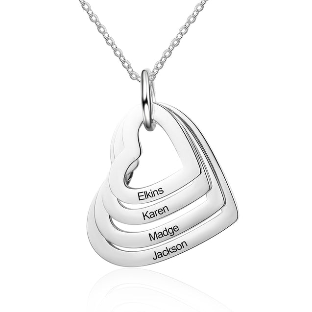 Personalized Mother Neckalce Engraved 4 Names Heart Pendant Necklace
