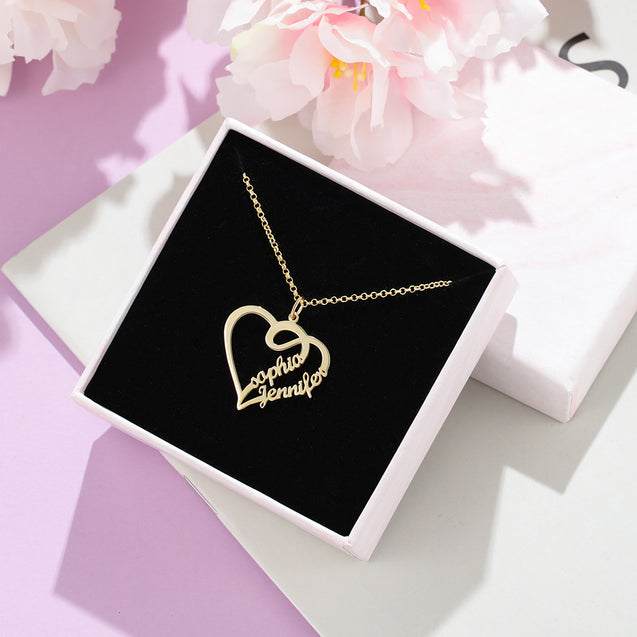 Heart Name Necklace with 2 Names Personalized Custom Name Necklace Mother's Day Gift