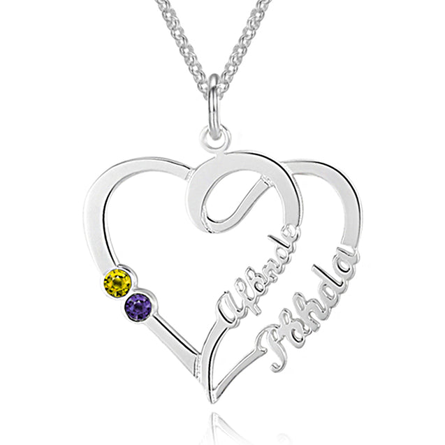 Overlapping Heart Necklace Custom Two Name Mother Daughter Necklace with 2 Birthstones
