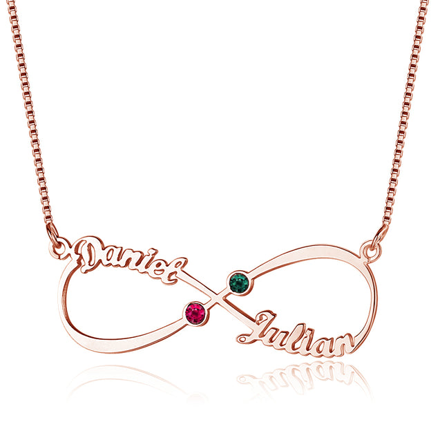 Infinity Necklace with 2 Birthstones Personalized Engraved 2 Name Love Forever