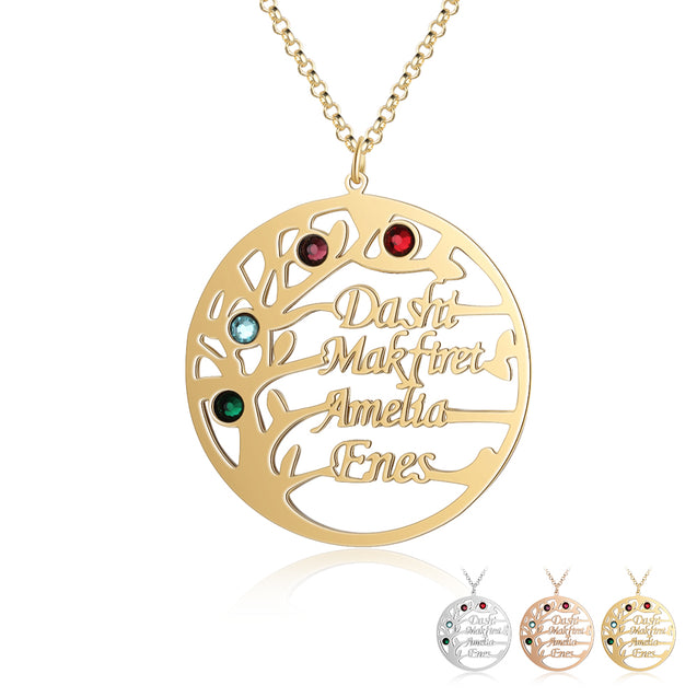 Family Tree Name Necklace Custom 4 Names Personalized with 4 Birthstones Tree Of Life Pendant