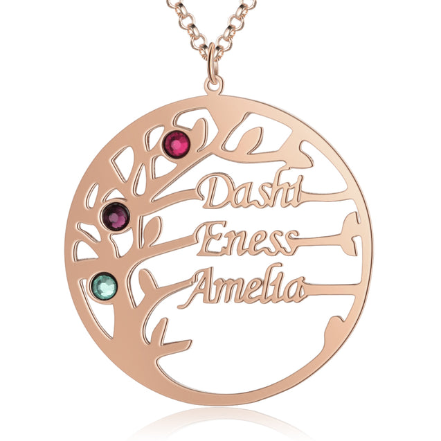 Family Tree Name Necklace with 3 Birthstones Custom 3 Names Personalized Tree Of Life Pendant