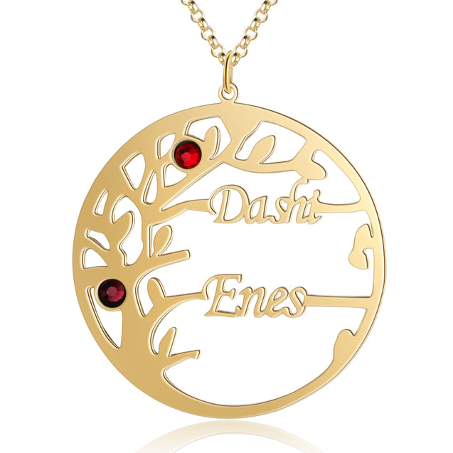 Family Tree Necklace with 2 Birthstones Custom 2 Names Personalized Family Necklace