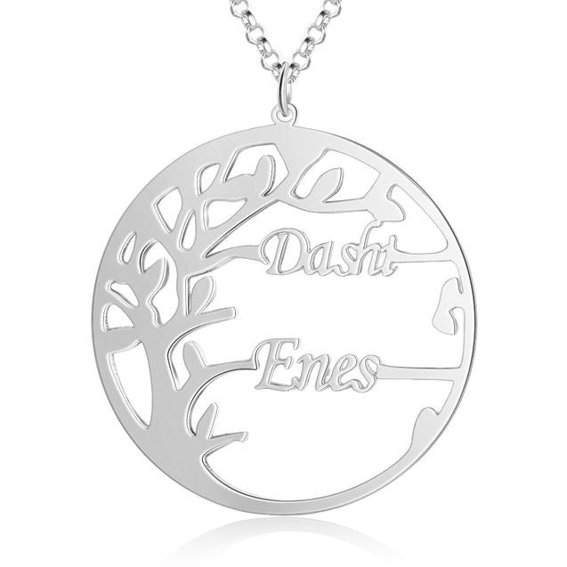 Family Tree Name Necklace Custom 2 Names Personalized Family Necklace with Child's Name